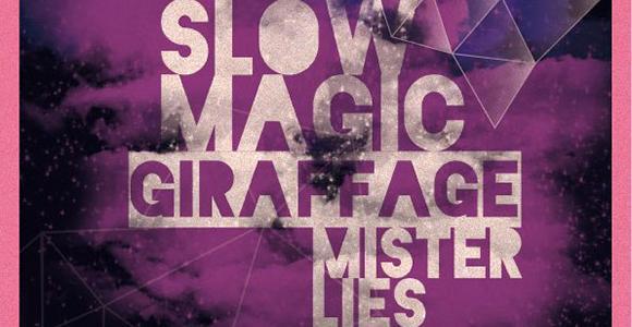 V sodelovanju z organizatorjem vam v nagradni igri poklanjamo 1 x 1 vstopnico za koncert Slow Magic, Giraffage in Mister Lies, ki bo 3. 6. 2013 v Brooklynu.