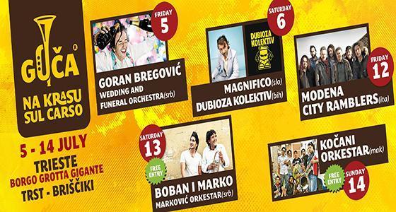 V sodelovanju z organizatorjem vam v nagradni igri poklanjamo 2 x 1 vstopnico za koncert Gorana Bregovića, ki bo 5.7.2013 na festivalu Guča na Krasu.